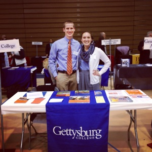 On April 8th Hubs and I represented our Alma Mater, Gettysburg College, at a local college fair. It's very possible we coordinated our outfits to match GBurg's blue and orange…don't tell! #DoGreatWork