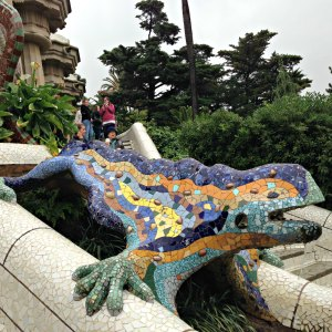 "Gaudí's multicolored mosaic salamander, popularly known as ""el drac"" (the dragon). I'm in love with Gaudi's mosaic masterpieces!"