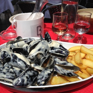 May 29th - I love moules-frites with a passion. I usually get creme fraiche,  but they ran out and gave me mussels with a blue cheese sauce. Not nearly as delicious, but I still enjoyed the fries and rose!