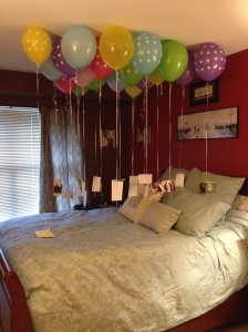 Have you seen Disney's Up? It was my inspiration for this gift. Every balloon had a photo attached which highlighted our first year of marriage.