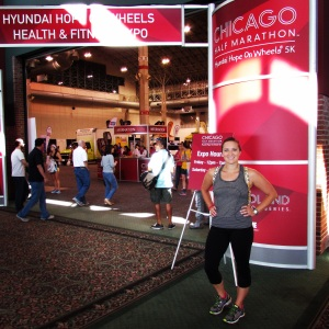 "Packet Pick Up at Navy Pier - I love the expo! I bought a new visor and a shirt that says, ""My Running Partner has Four Legs"" - love it!"