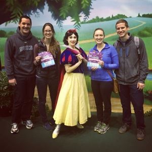 We picked up our race bibs and snapped a pic with Snow White - we're already starting to feel like princesses!