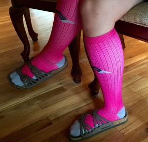 Oh you know you love compression socks to give your legs some love after a long run...and who doesn't want some extra arch support from Birks too? I may be a fashion emergency ;)